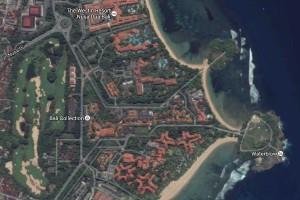 Nusa Dua dari satelit (Google Earth).